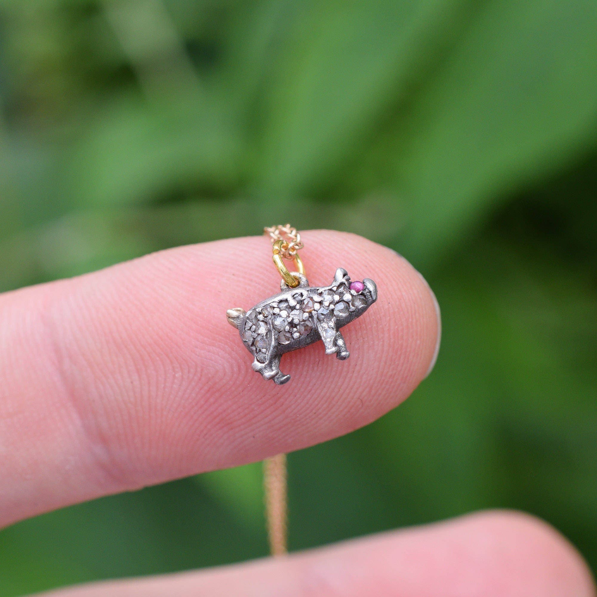 Antique Victorian Diamond  Ruby Miniature Pig Charm in Sterling Silver c1880