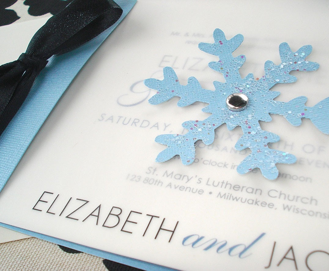 WINTER WONDERLAND Snowflake Wedding Invitation - Sample