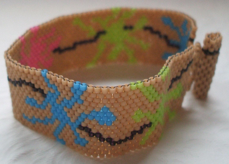 Joy Breaks Out Beadwoven Peyote Cuff Bracelet