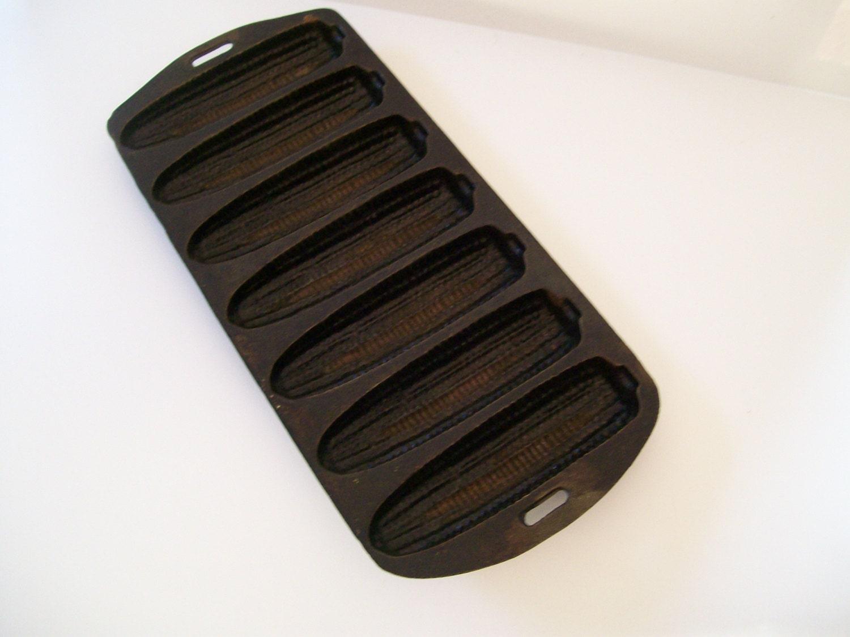 Vintage Black Cast Iron Crispy Cornbread Stick Pan 27 C. Vintage ...