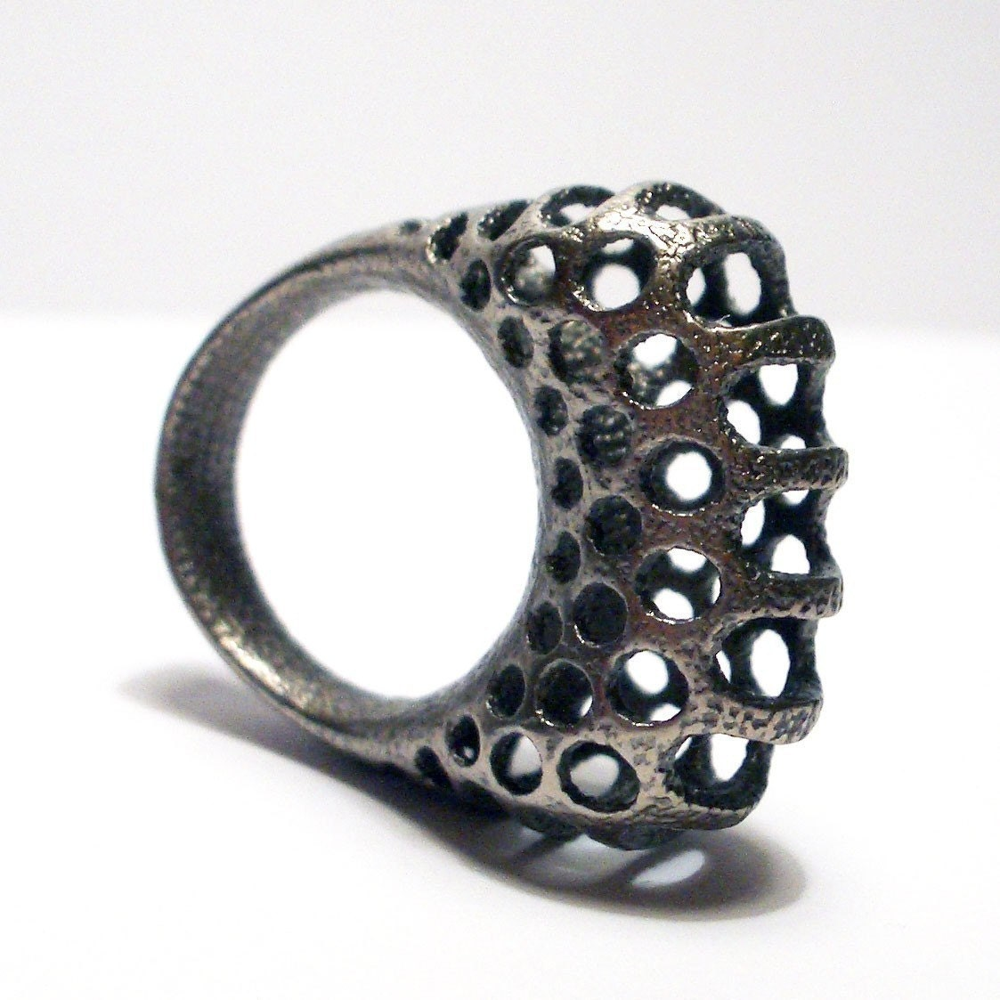 Polyoptic Ring 4.2 in Stainless Steel - 3D printed Free Shipping - uptomuch