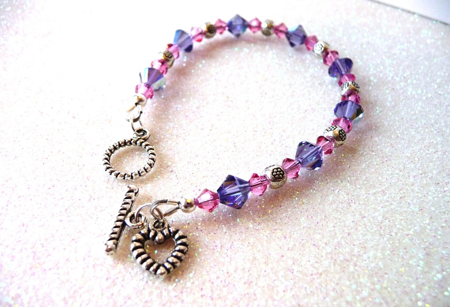 Childrens jewelry girls pink and purple crystal by meljoycreations