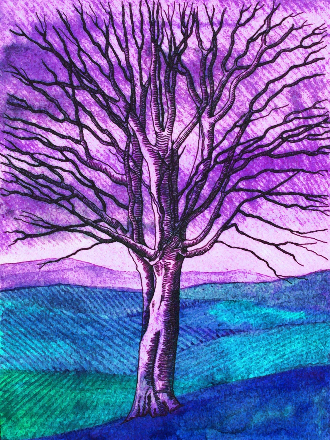 Ghost Tree (purple) - Giclee Fine Art Print