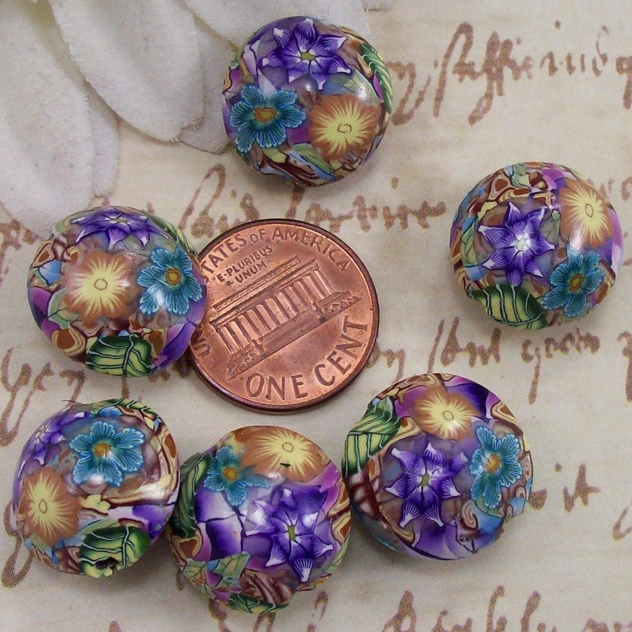 Polymer Clay Lentil Beads, by CAG