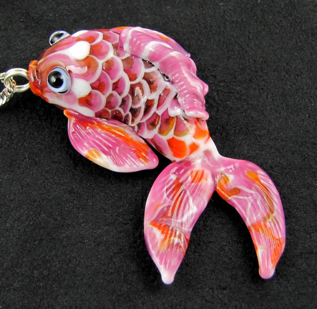 Japanese koi fish pendant lampwork glass sra by bethknapptyner for Orange koi fish meaning