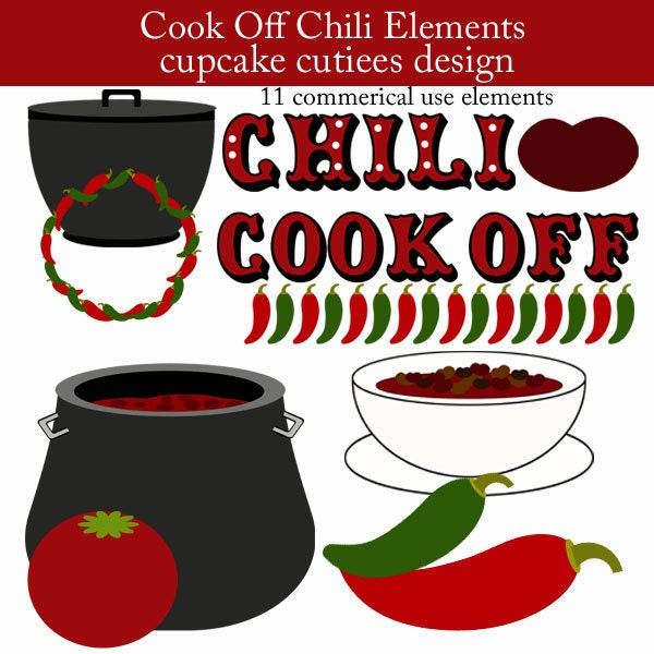 Chili Cook Off Element Clip art Digital by cupcakecutiees on Etsy