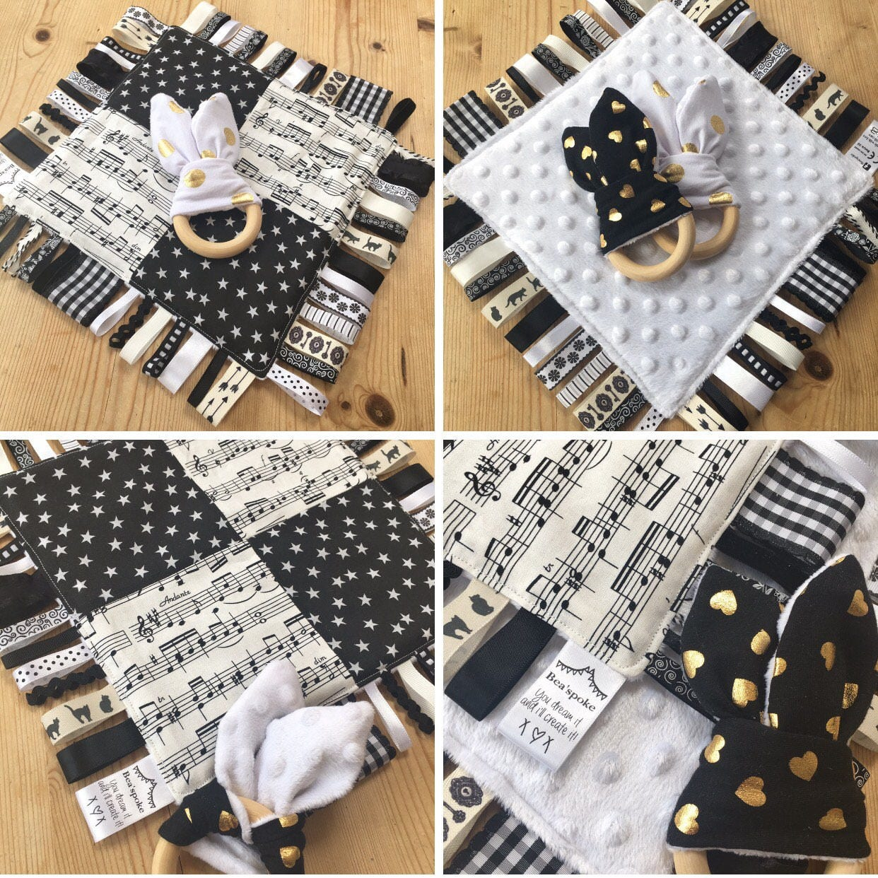 Baby Monochrome Music Stars Ribbon Tag Blanket Wooden Teether Teething Ring Taggy Taggie Comforter Shower Girl Boy Alternative Black White