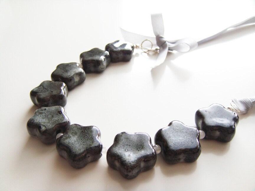 Posies in a Row Necklace - Black Ceramic, Snow Quartz, Grosgrain Ribbon