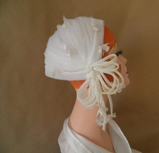 Vintage 1950s Tulle Hat Wedding Bridal Hat Or By