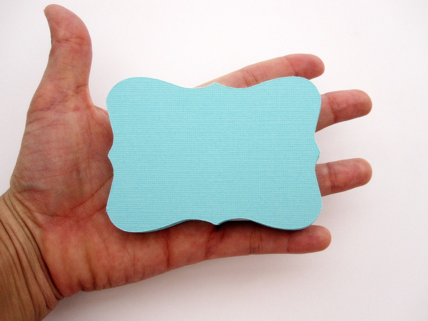MOVING SALE 48 Bracket cards in Turqouise  Cardstock (3.5 x 2.5 inches) die cuts