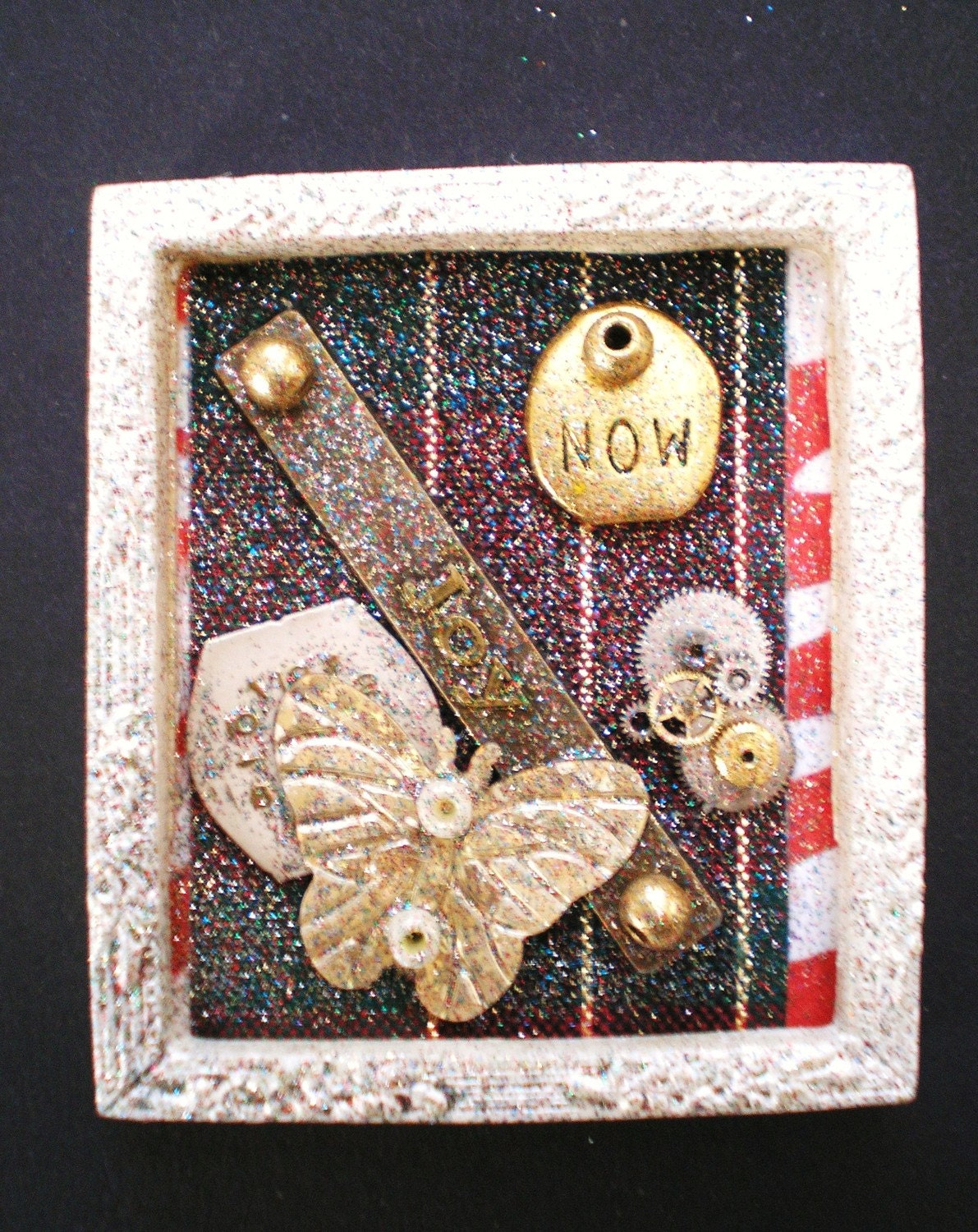 JOY  - Tiny Collage Mixed Media OOAK Framed Signed with Beads Butterfly Charm Ribbon Watch Parts