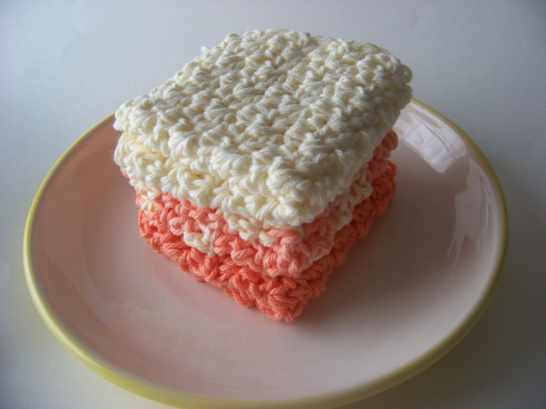 Peaches and Cream  Dishcloth Set