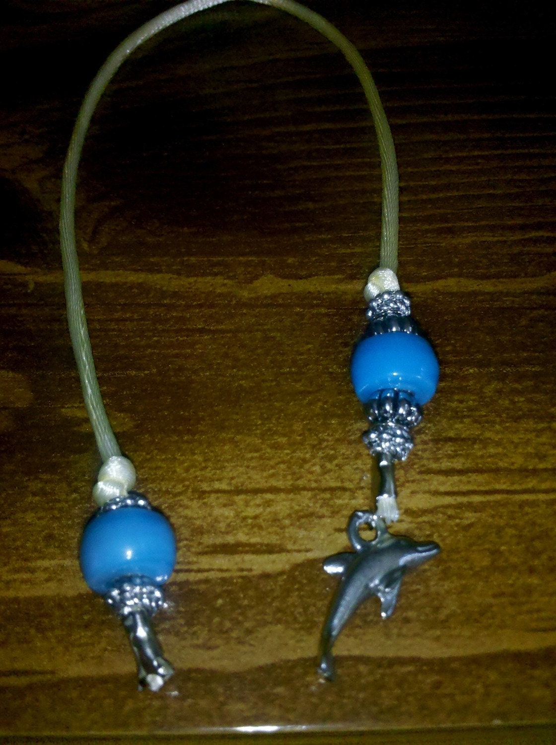 Sea Dolphin Blue Book Thong - Bookmark Silver and Glass Ocean Blue
