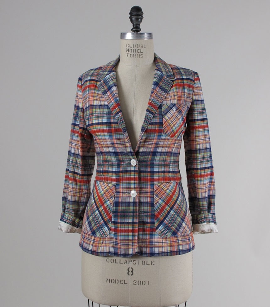 sale /// Vintage 1970s PREP SCHOOL Cotton Plaid Blazer