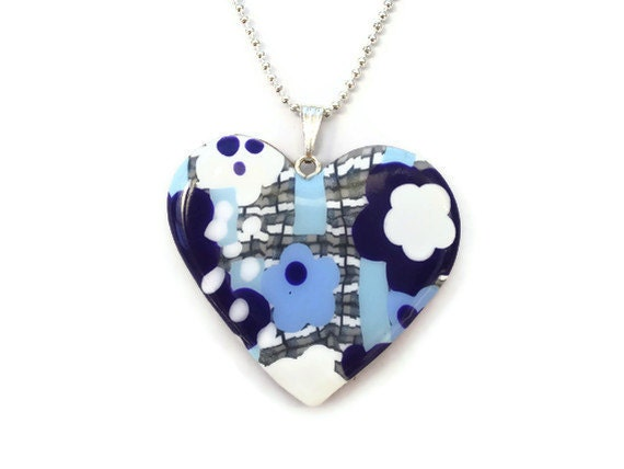 Heart Pendant  Purple Blue and White Flowers by KireinaJewellery |  Craft Juice :  fashion style handcrafted polymer clay