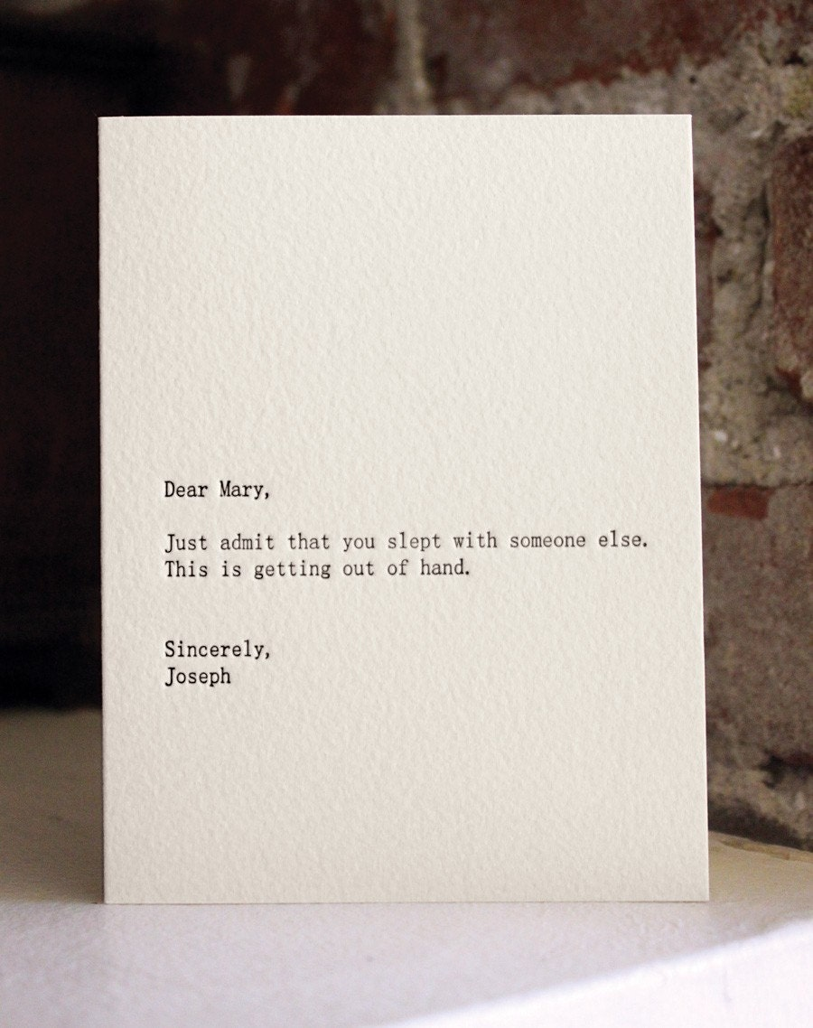 dear mary. letterpress card