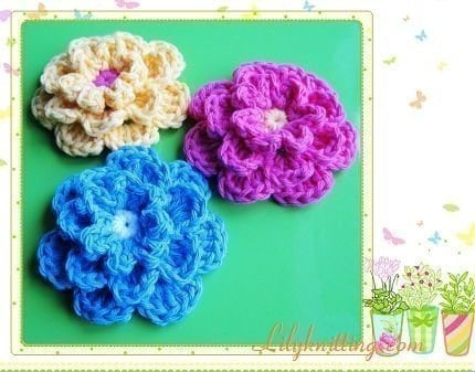 Free Crochet Pattern 40399-B2 Crocheted Rosettes / Flowers : Lion