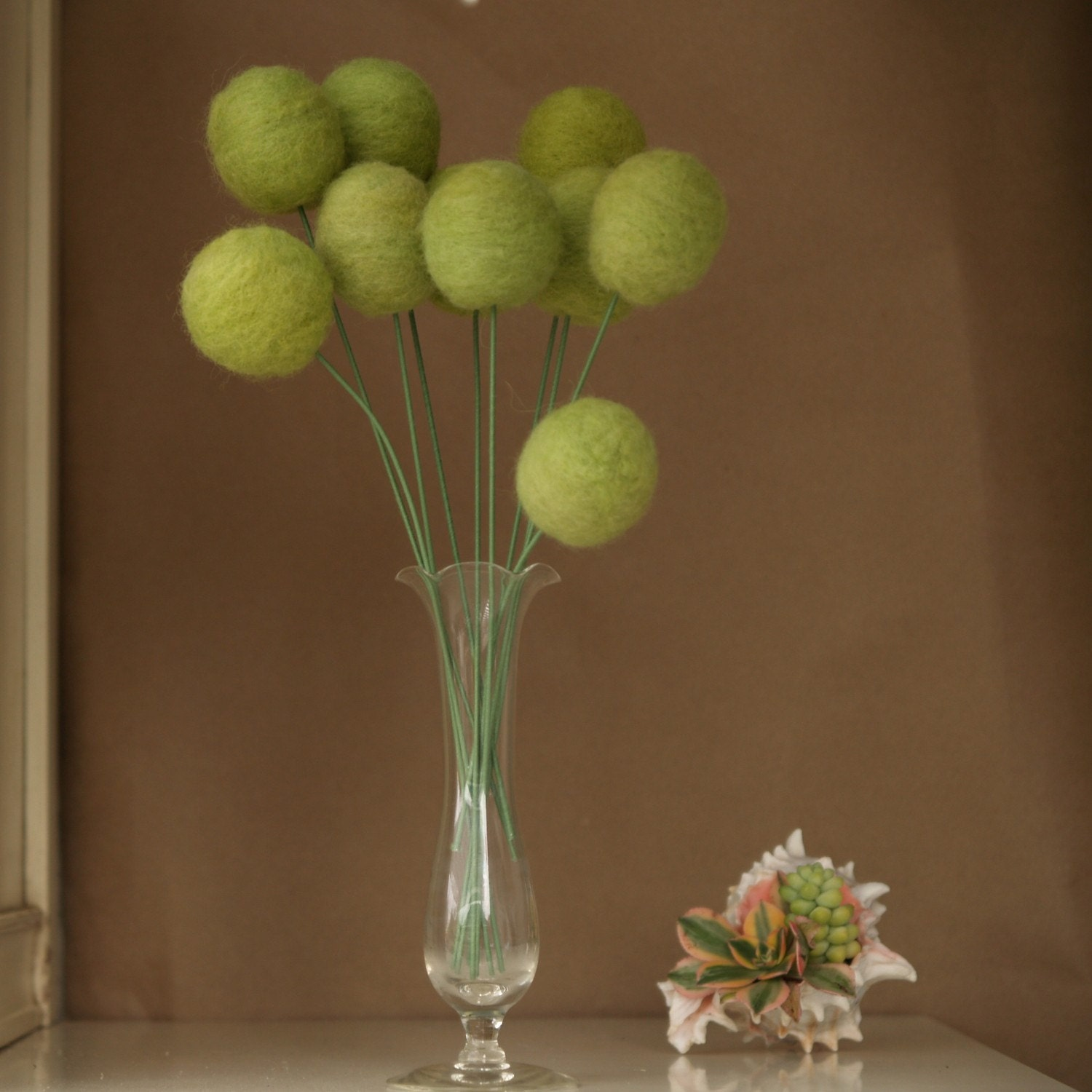 10 Large Mossy Green Craspedia Stems - Spring Wool Blossoms eco friendly and ever lasting nature