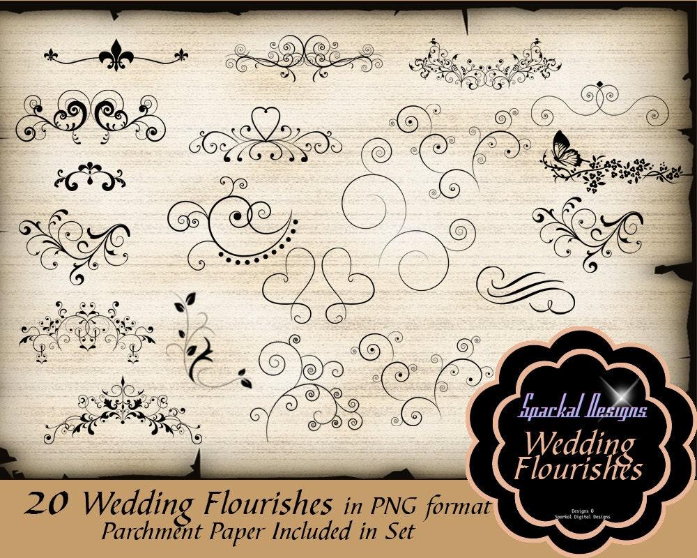 Wedding Flourish Clip Art Set of 20 Instant Download Vintage Themed ...