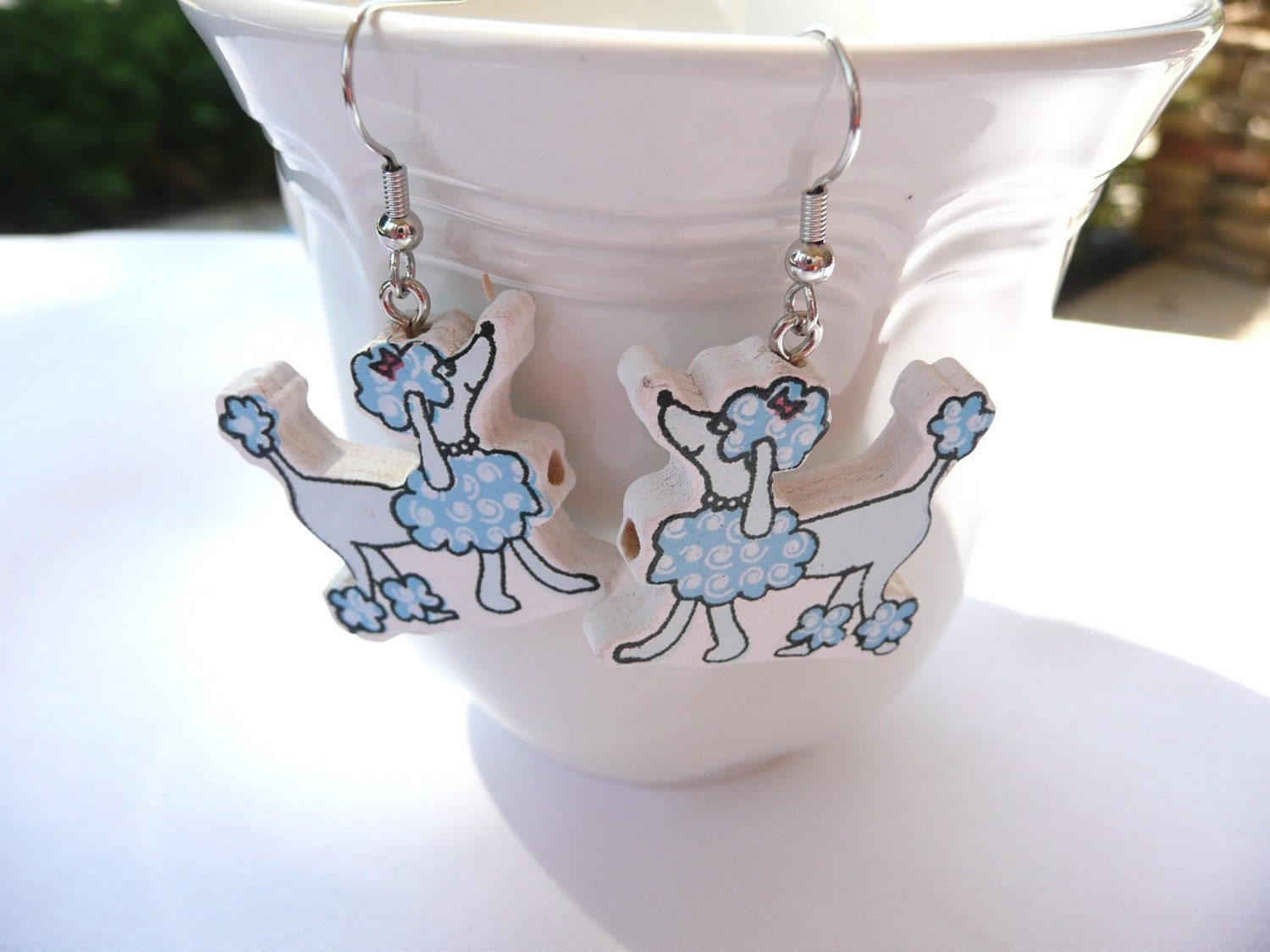 Blue Poodle Dangle Earrings