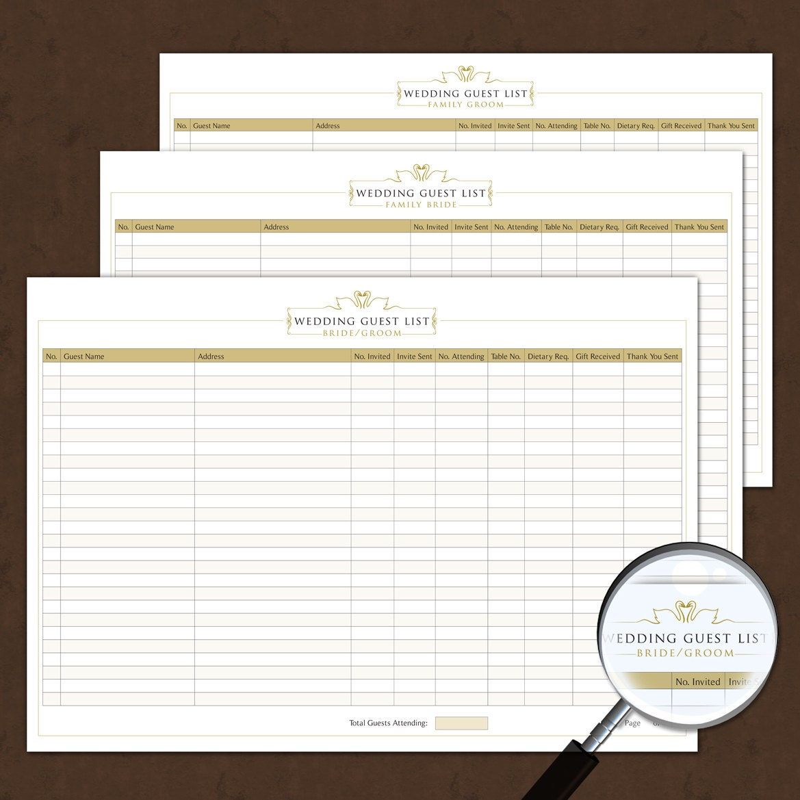 wedding guest list template interactive printable by michelleyoh. Black Bedroom Furniture Sets. Home Design Ideas