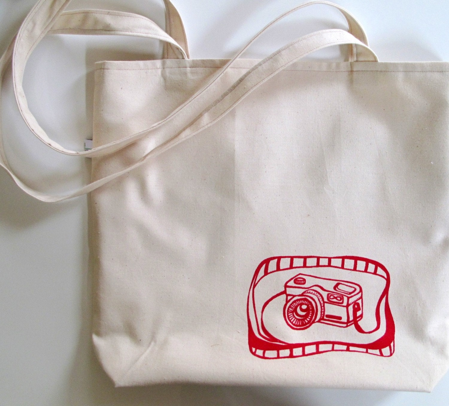 Tote Bag with Red Camera Design