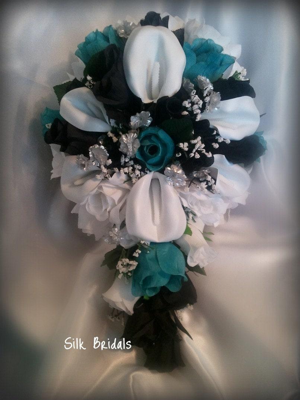 Dark Teal Wedding Bouquets Bridal Bouquet Silk Flowers Black Jade By