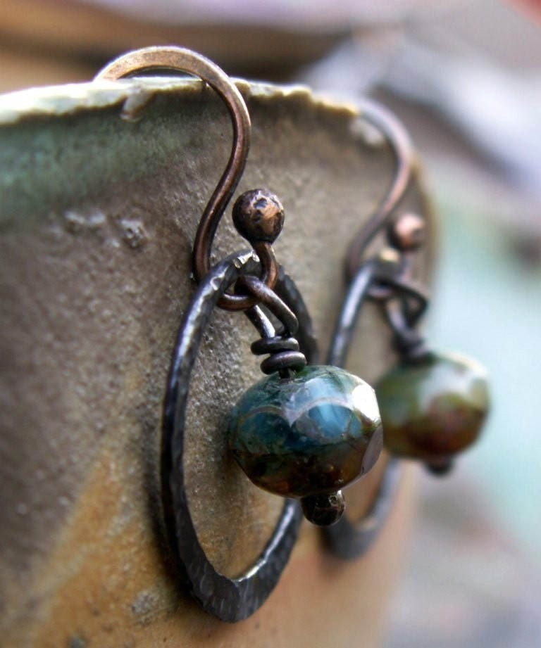 Tide Pool Czech Glass and Artisan Hoop Earrings