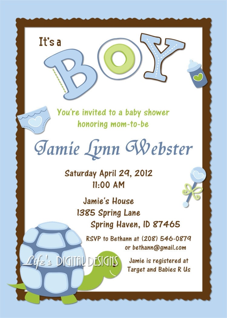 baby shower invitation blue green turtle with sonogram option
