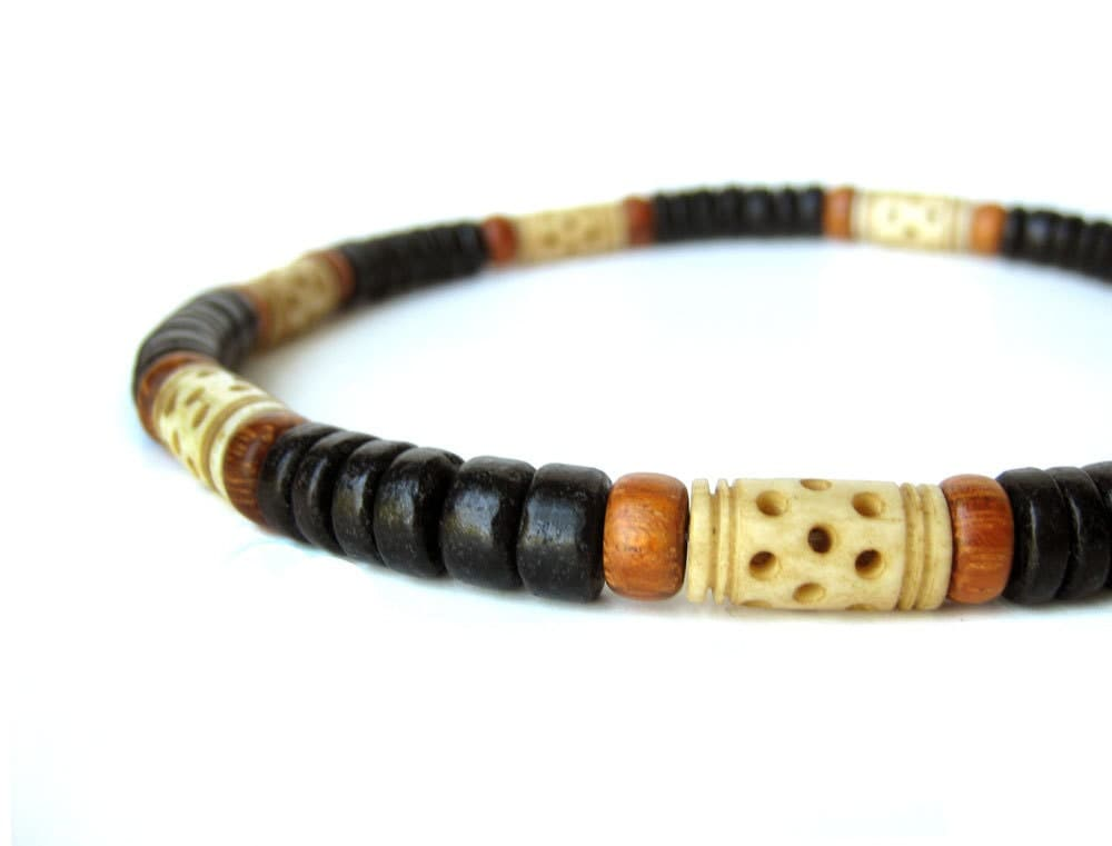 Mens Jewelry - Tribal wood necklace for men with carved bone   quot Morocco    Tribal Bracelets For Men
