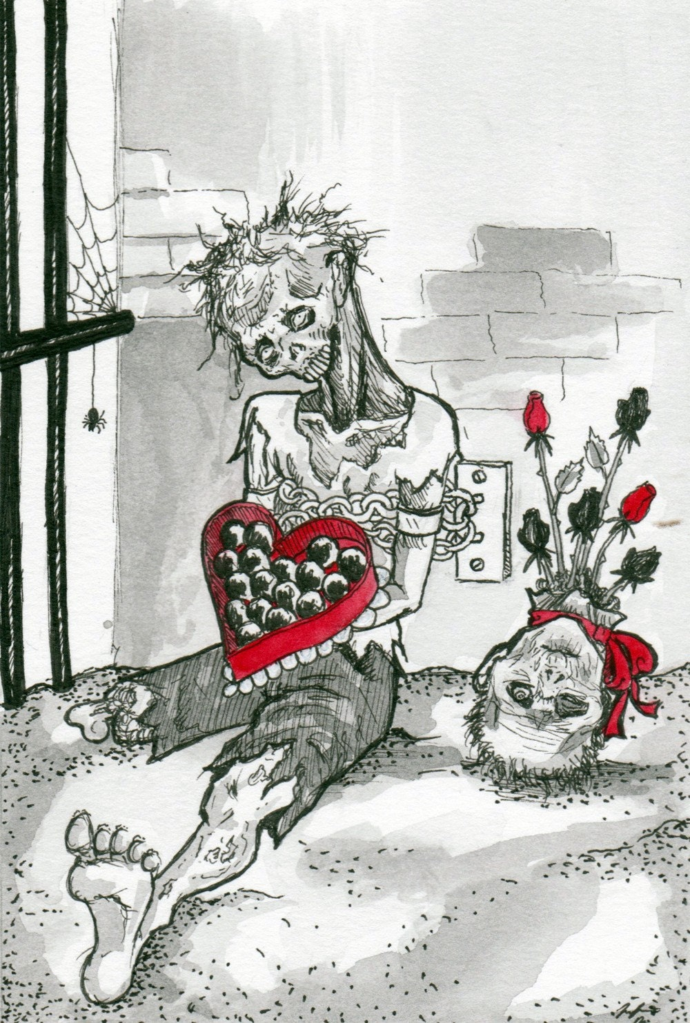 ORIGINAL ink and watercolor illustration- Zombie Valentine
