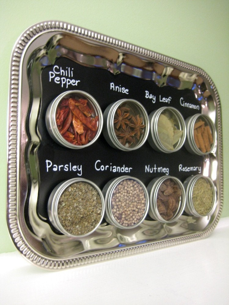 Chalkboard Magnetic Spice Rack - Custom Wall Mount Kitchen Organization, Chalk Board Menu Sign