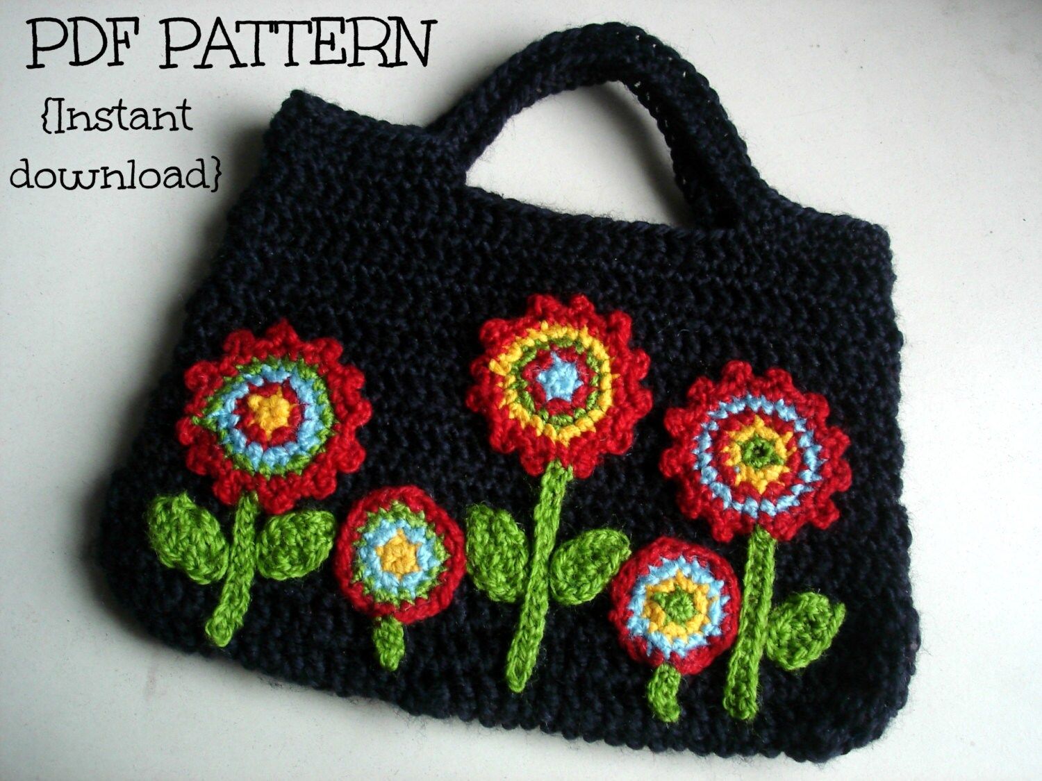 Crochet Bag Pattern Pdf : ... PDF Crochet bag pattern, Night flower-garden bag, Pattern No. 17