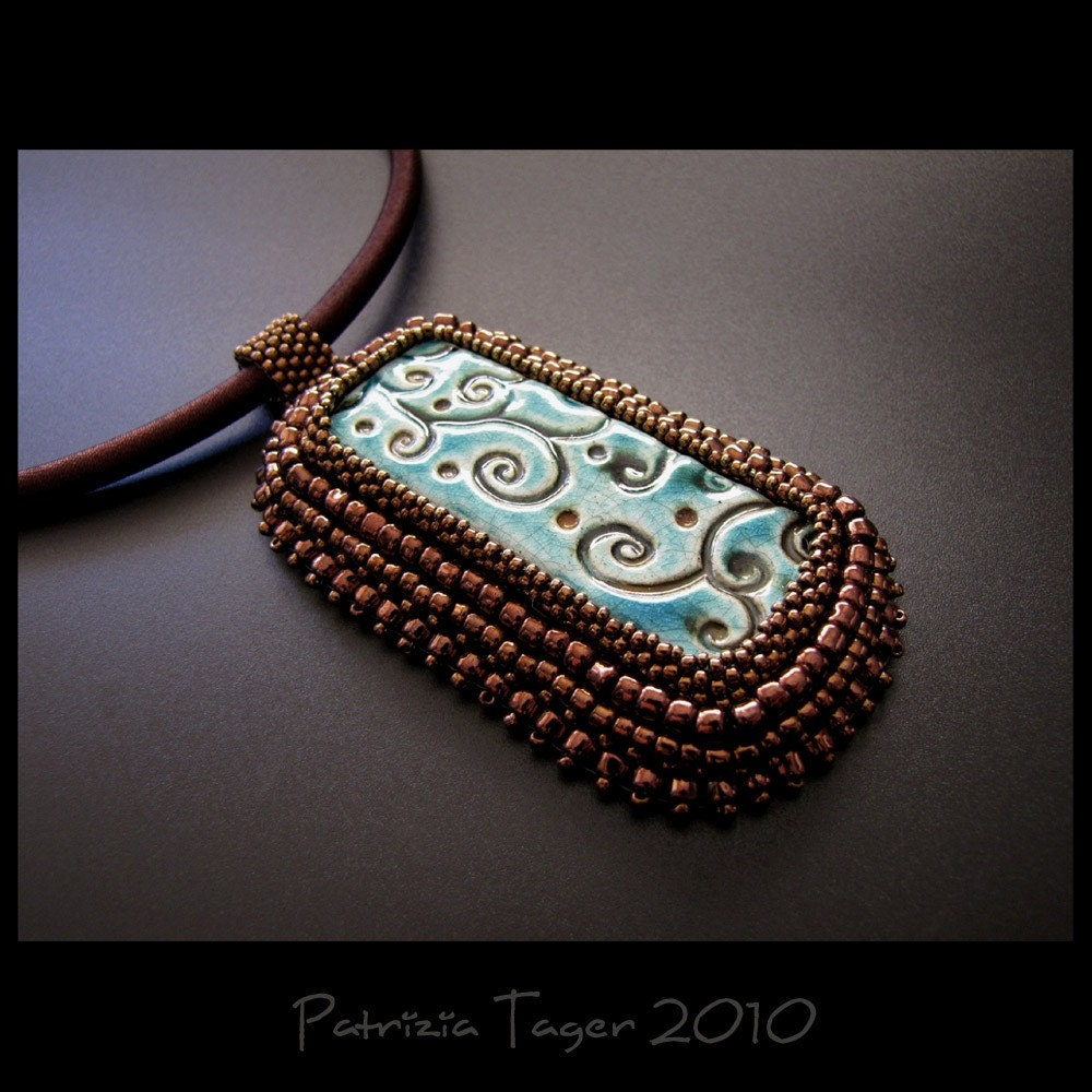 Bronze Vines  on Turquoise - OOAK Pendant - BAO item of the week