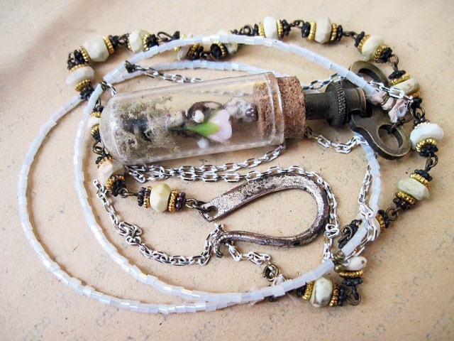 When the Child was a Child. Frozen Charlotte Long White Victorian Assemblage necklace.