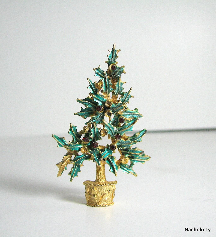 Vintage Mylu Christmas Tree Pin, Repurpose or Upcycle - Nachokitty