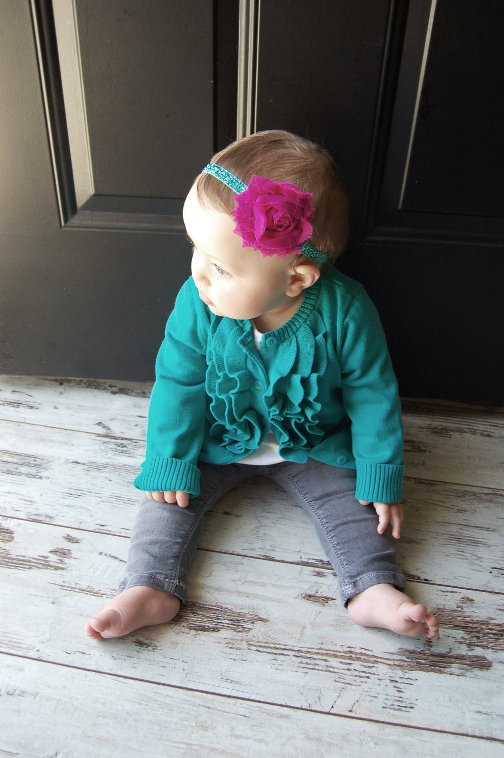 Fuchsia Shabby Chic Single Flower on Mint Glitter Stretch Headband - The Shabby Chic Collection
