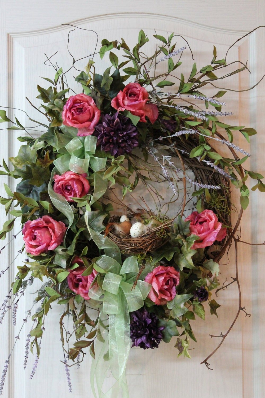 Front door wreath country wreath summer wreath fall wreath bird