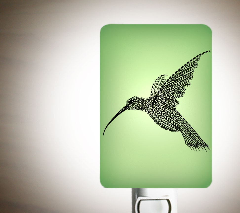 Hummingbird Nightlight on Mint Green Fused Glass Night Light - Gift for Baby Shower or Nature Lover by Happy Owl Glass - happyowl