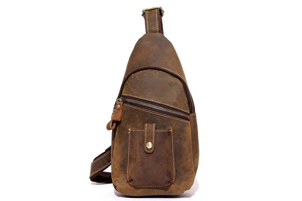 Handmade Tan Top Grain Real Luxury Leather Sling Chest Bag Cossbody Bag Shoulder Bag  Travel Bag  Unisex University School Bag ManWomen