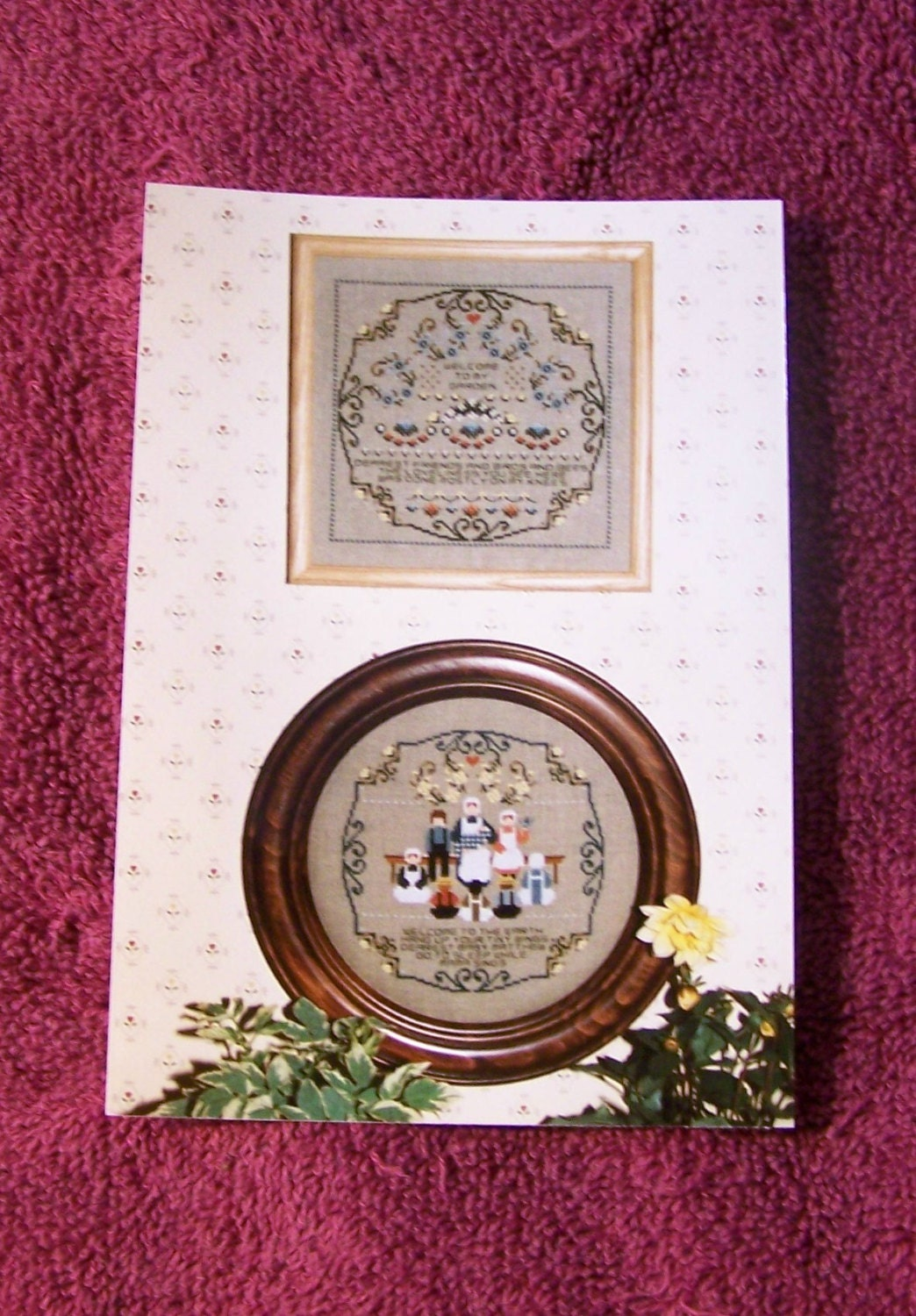 Cross stitch chart baby garden amish a told by for Told in a garden designs