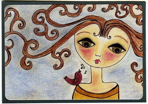 sing to me - Signed ACEO Print on Premium Metallic Paper