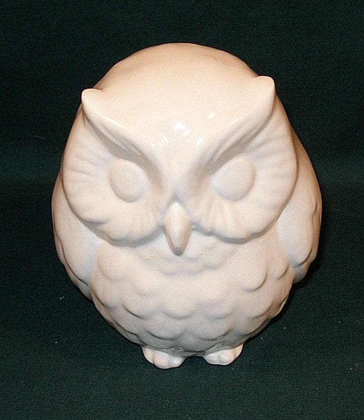 Hootie Ceramic Owl Figurine Classic White By Ceramicsbylisa