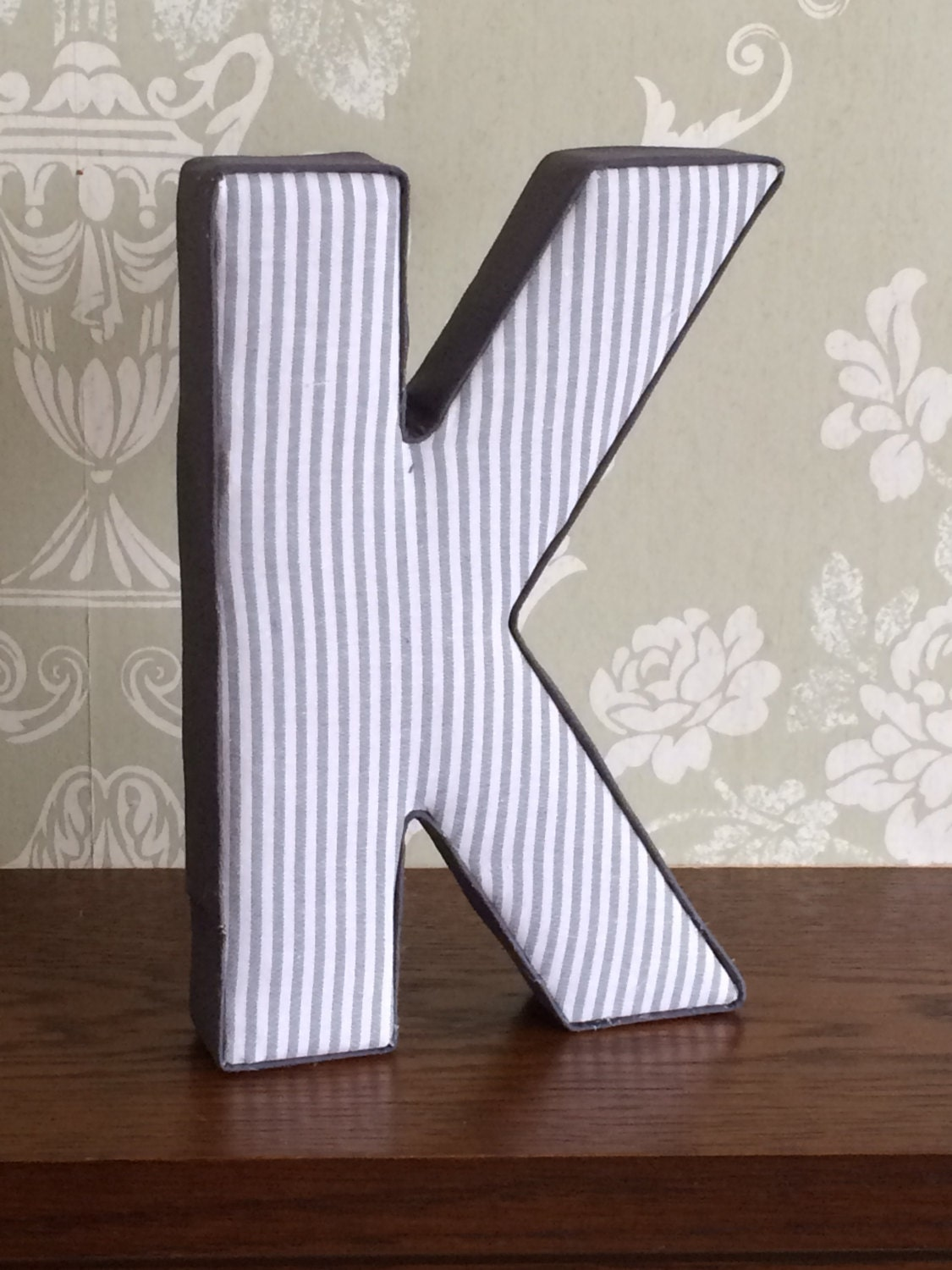 Grey unisex neutral nursery decor fabric covered letters boys girls bedroom wall decoration door plaque custom personalised gift ideas