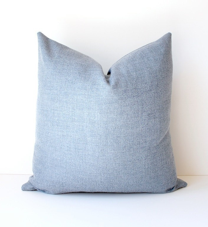 Modern Blue Chambray Decorative Designer Pillow by WhitlockandCo