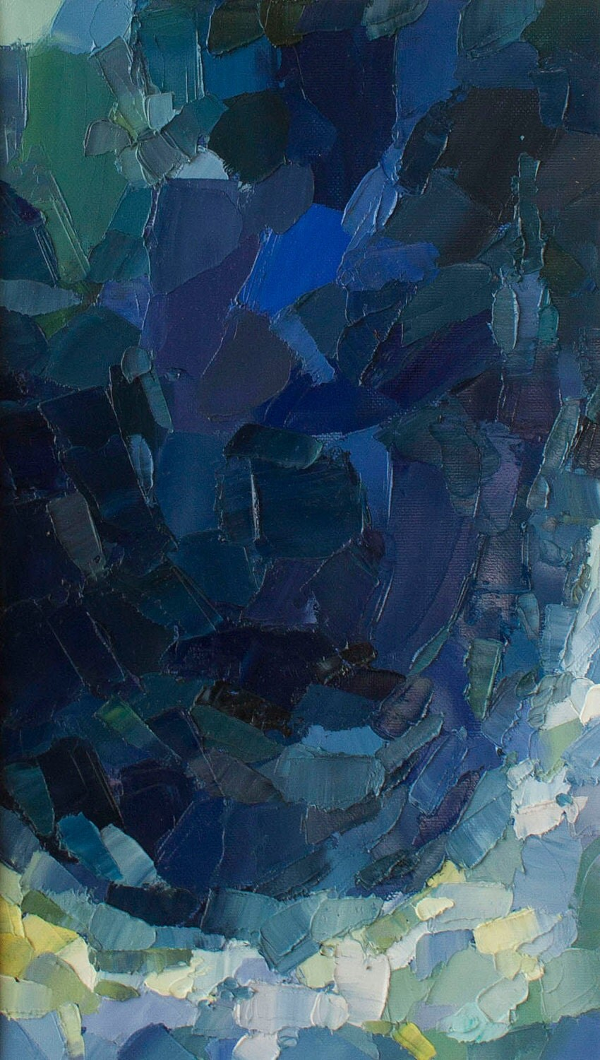 Nocturne: Ocean - Original Oil Painting in deep blues and foamy light blues and greens (37.5x21.5 cm - app. 14.8x8.5 in) - KoseBose
