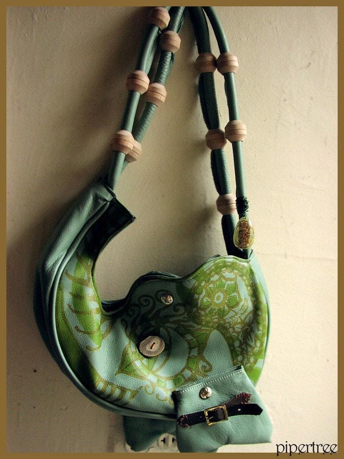Etsy :: Magical Elephant Handbag, Leather Creature Screenprinted Purse from etsy.com