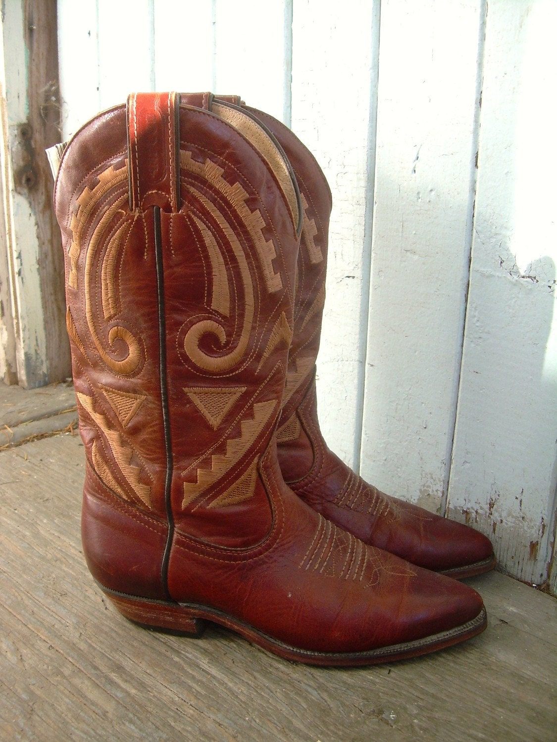 VINTAGE WOMEN'S BROWN LEATHER SOUTHWESTERN COWBOY BOOTS SZE 6 BY BOOTMEISTER