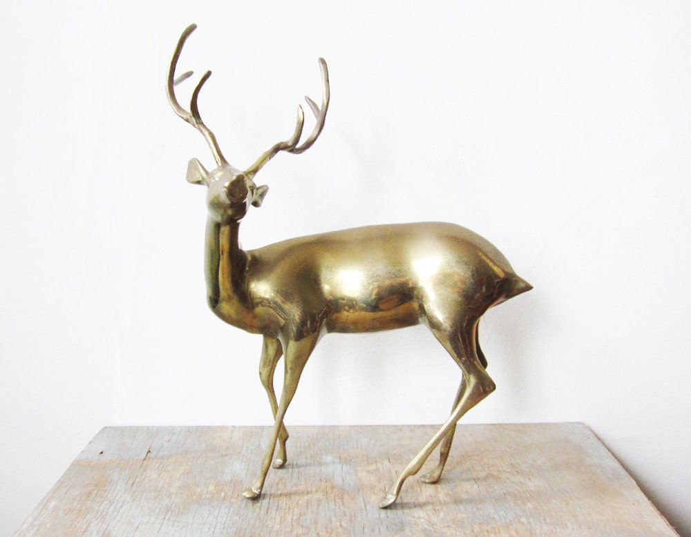 vintage large brass deer / brass buck - RustBeltThreads