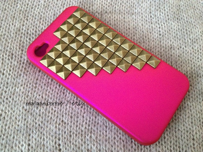 FREE Shipping US -- Gold Brass Studs iPhone 4 4S Hot Pink Rubberized Matte Studded Phone Case AT&T Verizon Sprint